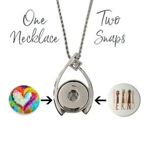 """Snap Charm Contemporary Pendant Necklace Includes Snaps and 18"""" Rope Chain"""